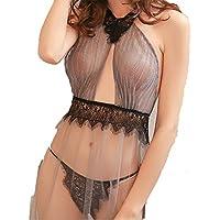 WEI Wang La señora está de Vuelta de Encaje, de Encaje Transparente Falda Pijamas, Sash