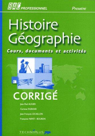Histoire géographie Bac Professionnel 1e : Corrigé