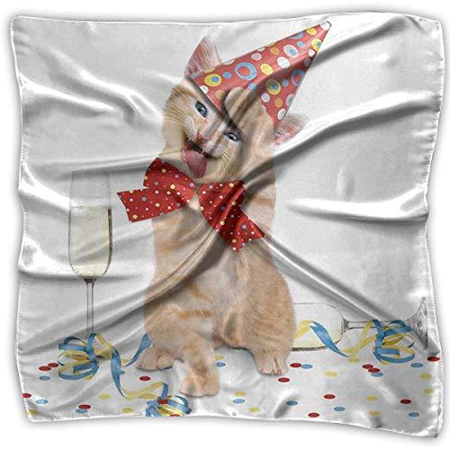 Xukmefat Kätzchen Champagner Fliege Damen elegante quadratische Taschentuch Polyester Hals Kopftuch