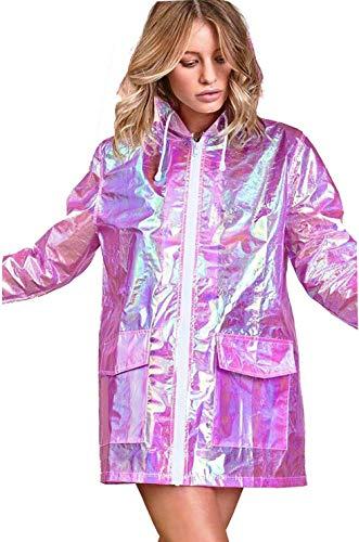 CHOCOLATE PICKLE Women's Holographic Hooded Lightweight Zipped Neon Festival Kagool Mac Raincoat Jacket 8-24