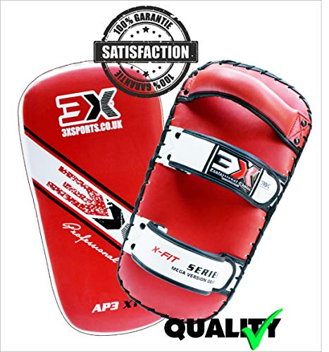 (3 x Sport Thai Kick Boxen Strike Shield Focus gebogen Pads MMA UFC Training Arm Farbe (rot))