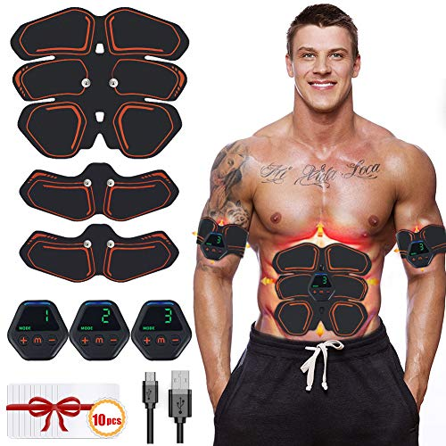 Hieha Electrostimulateur Musculaire【2019 Dernière Version】, EMS 8 Ceinture Abdominale Electrostimulation/Bras/Cuisse Muscle Forme d'exercice Fitness pour Homme Femm