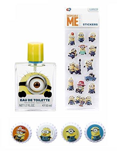 Minions / Ich - Einfach unverbesserlich / Geschenk-Set: Eau de Toilette (Parfum) Spray 50ml + 4 Magnete + 3D-Sticker - für Kinder