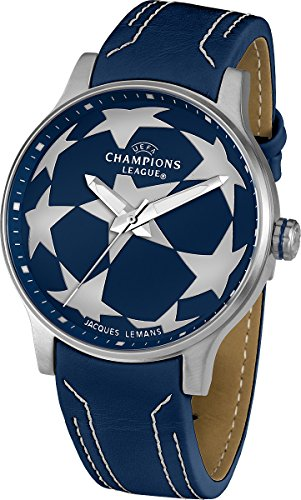 Jacques Lemans Herren-Armbanduhr XL  UEFA Champions League Analog Quarz Leder U-37C