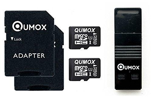 QUMOX 2x 32GB MICRO SD Klasse 10 UHS-I-Speicherkarte mit USB OTG Karteleser