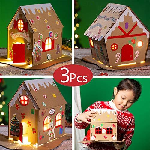 ONECK 3 Stück DIY Weihnachten Haus Weihnachtsschmuck Lebkuchenhaus Weihnachtsdorf Häuser mit Lichtern 3D Weihnachtshaus DIY Kit für Kinder Weihnachts Geschenk
