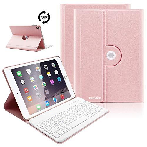 iPad Tastatur Hülle für iPad 2018(6 Generation), iPad 2017(5 Generation), iPad Pro 9.7, iPad Air& Air 2-360 Grad Drehung Ultra Slim Case, Abnehmbare Bluetooth Tastatur, QWERTZ Layout (Champagne)