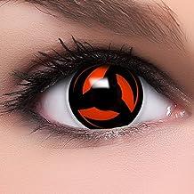 """FUNZERA®[Sharingan] Lentillas de Colores """"Kakashi"""" + 10 ml solución + recipiente para lentes de contacto, sin dioptrías pack de 2 unidades - cómodas y perfectas para Halloween, Cosplay sin corregir"""