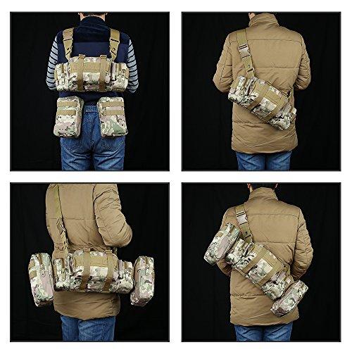 TOPQSC Rucksack, Bergsteigen 55 Liter Outdoor Wanderrucksäcke mit 3 MOLLE Taschen, Wasserdicht vom 600D Oxford-Material auch eine gute Reisetasche/ Wanderrucksäcke/ Trekkingrucksäck, perfekt für Sport CP