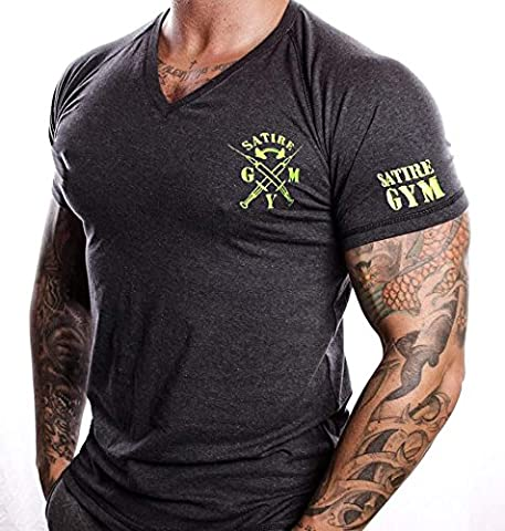 T-Shirt Fitness V-neck SATIRE GYM Farbe Grau Anthrazit Für Fitness & Training, Muskeln Muscle Fit