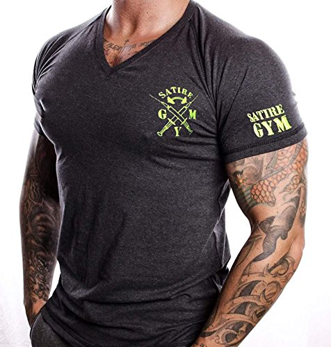 T-Shirt Fitness V-neck SATIRE GYM Farbe Grau Anthrazit Für Fitness & Training, Muskeln Muscle Fit (M)