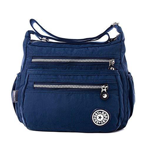 TIBES Moda Mujer Bolsa de hombro de nylon PUrse impermeable Organizar viajes Bolsa de mensajero Azul profundo