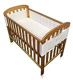 Breathe Easy Air Mesh 4 Sided Unisex Nursery Breathable Cot Bed Liner Bumper Set - White 1 x Liner 460cm x 28cm