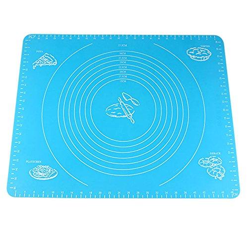 Alxcio Silikon Backmatte Teigmatte Ausrollmatte Antihaft Rutschfeste Backunterlage für Pizza Teig Fondant Backen Küche 50x40 cm - Blau,Stil 2