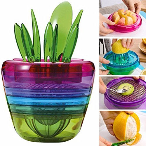 OUNONA 10 Stück Creative Fruits Plante Multi Cuisine Werkzeug Set Apple Cutter Avocado Scoop Fruits Schneider Schneider Mesh Zitron Squeezer Avocado-scoop