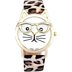KEERADS Women Analog Quartz Dial Wrist Watch Cute Glasses Cat, Khaki