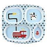 Bumkins Kinder Menüteller, Kinderteller aus Melamin mit 4 Fäch Baby Menü Tablett (Feuerwehr)ern,