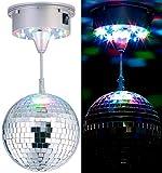 Lunartec Party-Discokugel: Selbstdrehende Discokugel mit Sockel und 18 farbigen LEDs, Ø 15 cm (Farbwechsel-Discokugel)
