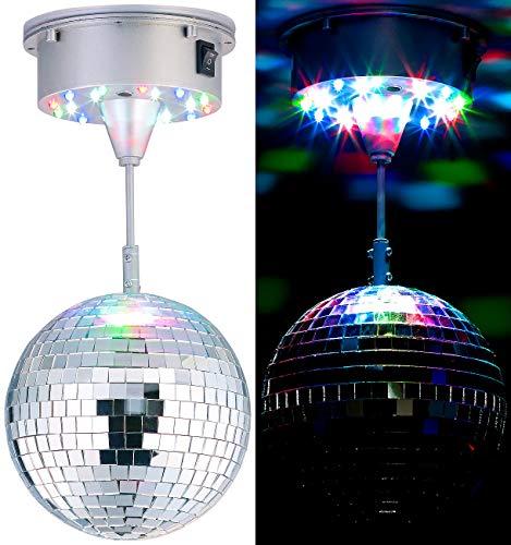 Lunartec Diskokugel: Selbstdrehende Discokugel mit Sockel und 18 farbigen LEDs, Ø 15 cm (Discokugel Batterie)