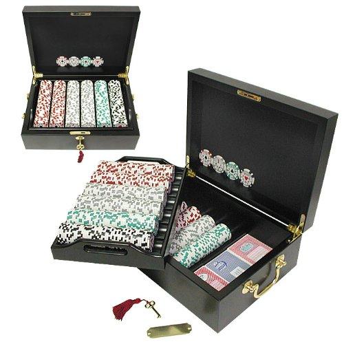Trademark 500 Chip High Roller Set mit schönen Mahagoni-Koffer, Braun