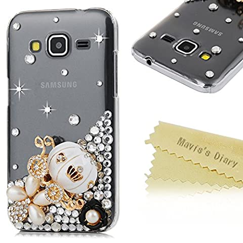 Core Prime Case ,Galaxy Core Prime Case - Mavis's Diary 3D Handmade Bling Diamond White Pumpkin Carriage Colorful Pearl Flowers Shiny Rhinestones Protective Clear Hard PC Cover for Samsung Galaxy Core