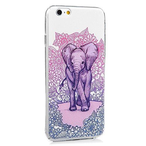 Custodia iPhone 6 / 6s,Rigida Plastica Hard Trasparente - MAXFE.CO Case Cover Shock-Absorption Plastica PC Bumper Duro,Ultra Sottile Anti Slip - Elefante Stile 05