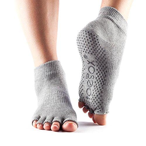 Calcetines ToeSox con media puntera en el tobillo para calcetines de yoga, pilates y barre fitness (Heather Grey, Medium)
