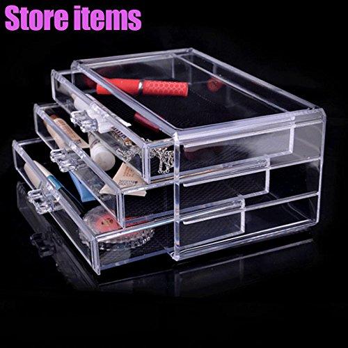 Rokoo Boîte cosmétique acrylique de boîte de rangement de 3 tiroirs d'organisateur de maquillage clair