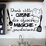 Vinilo pared decorativo, pegatina pared con frase en francés'DANS CETTE CUISINE.', Décoration de Salon Autocollants Muraux PVC,Stickers Amovible, Wall Stickers, Art Sticker Decal Mural, DC-18034