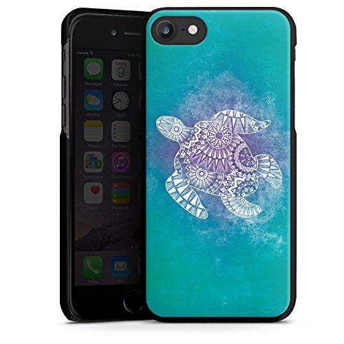 Apple iPhone SE Tasche Hülle Flip Case Mandala Turtle Schildkröte Muster Hard Case schwarz