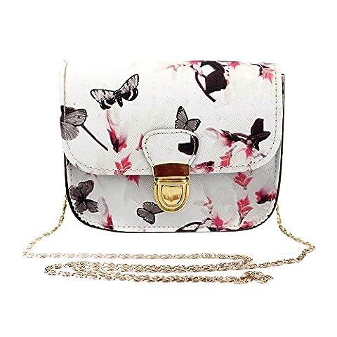 ESAILQ Femme Sac à bandoulière imprimé fleur papillon (blanc)