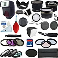 PLR Optics 58mm Kit completo Pro Essential Premium - Include: Flash TTL + Obiettivi Fisheye + Obiettivi grandangolari 0.43x + Teleobiettivi 2.2x + Kit Filtri + Set Macro Close Up + Effetti Speciali + Kit accessori per fotocamere SLR digitali Canon Digital EOS Rebel SL1 (100D), T5I (700D), T5 (1200D), T4i (650D), T3 (1100D), T3i (600D), T1i (500D), T2i (550D), XSI (450D), XS (1000D), XTI (400D), XT (350D), 1D C, 70D, 60D, 60Da, 50D, 40D, 30D, 20D, 10D, 5D, 1D X, 1D, 5D Mark 2, 5D Mark 3, 7D, 6D