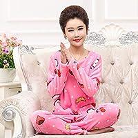WYIKAI Pijamas Un Gran Número De Mujeres del Otoño E Invierno Conjunto De Pijama Gruesa Franela Establece 2Pedazo Pijama Manga Larga Kit Inicio 4XL