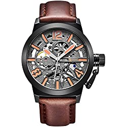 Alienwork Automatic Watch Self-winding Skeleton Mechanical Leather gray brown K003B-02