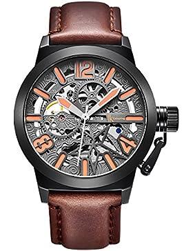 Alienwork mechanische Automatik Armbanduhr Skelett Automatikuhr Uhr Herren Uhren XXL Oversized Design Leder grau...