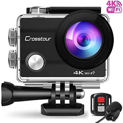 Crosstour CT8500 Action Cam 4K WiFi (16MP, Unterwasser 40m Wasserdicht, Fernbedienung und Externes Mikrofon)