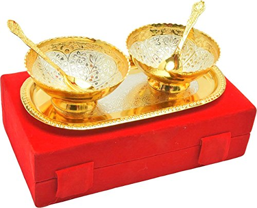 IndianCraftVilla Handmade Occasion gifts silver gold plated unique bowl set with comes...