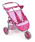 Bayer Chic 2000 697 31 - Zwillings-Jogger, Zwillingspuppenwagen für Puppen bis 50 cm, Dots Pink