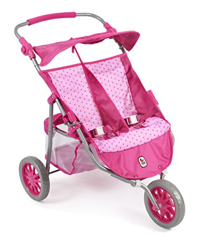 Bayer Chic 2000 697 31 - Zwillings-Jogger, Zwillingspuppenwagen für Puppen bis 50 cm, Dots Pink