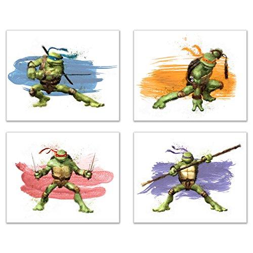 Summit Designs Teenage Mutant Ninja Turtles Wall Art Decor-Set von 4Drucke (8x 10)-Poster Fotos Watercolor-Michelangelo, Leonardo, Raphael, Donatello (Turtles Mutant Ninja Gesicht Teenage)