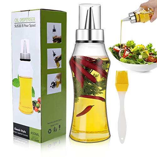 Familybox Ölflasche 400ML,Olivenöl Behälter Premium Essig/Öl Spender aus Edelstahl und Glas für BBQ,Kochen,Grillen,Pasta, BPA-Frei,Auslaufsicher und Spülmaschinenfest