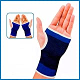 Swabs Elastic Palm Wrist Glove Hand Grip Support Protector Brace Sleeve Support (Free Size, Blue)