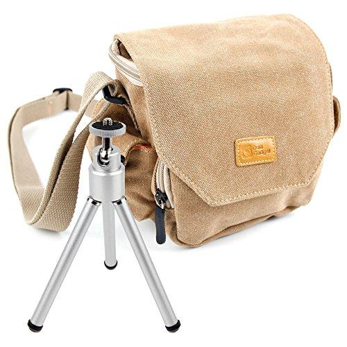 Braune Clip-Leinentasche + Mini-Stativ Für AKASO Action 4K SY0004 WiFi Kamera