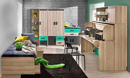 Jugendzimmer - Schreibtischaufsatz Marcel 17, Farbe: Esche Türkis / Grau / Braun - Abmessungen: 51 x 216 x 39 cm (H x B x T) - 5