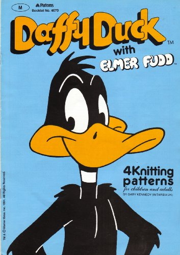patons-childrens-and-adults-daffy-duck-with-elmer-fudd-motif-sweater-4-knitting-pattern-to-fit-chest