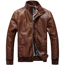 Sawadikaa Hombre Chaqueta De Moto Chaqueta Cazadora Imitación De PU Piel Abrigo Cortavientos Marrón X-Large
