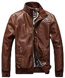 Sawadikaa Hombre Chaqueta De Moto Chaqueta Cazadora Imitación De PU Piel Abrigo Cortavientos Marrón Large