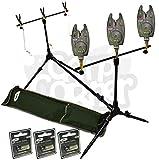 BRAND NEW Carp Fishing Multi Rod Pod With Swingers 3 Bite Alarms + Batteries