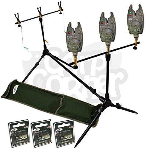 Soporte Múltiple para Cañas de Pesca de Carpas con 3 Alarmas Indicadoras Tres Alarmas de Picado con Tono Volumen y Pilas Nuevas