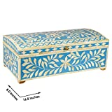 "GAURI KOHLI Handcrafted Bone Inlay Box Decorativo in Oceano Colore Blu (Large Size | 16"" x 8"")"